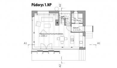 Pasivní dům v Černošicích - Půdorys 1NP