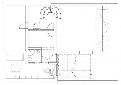 Interiér přístavby řadového domu - Půdorys