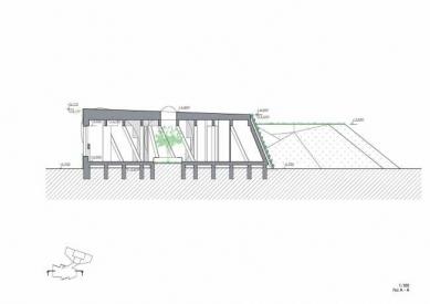 Experimentální objekt ve Slavkově u Brna - Řez A - foto: Fránek Architects