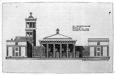 Kostel svatého Ducha - Průčelí původního návrhu z roku 1910