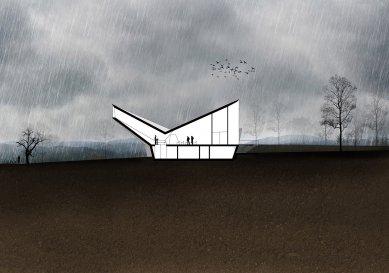 Smuteční síň Svinov - Podélný řez