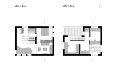 Dům Langr - Půdorys 2.np a 3.np - foto: atakarchitekti