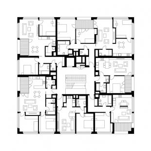 Bytový dům Bulovka  - Půdorys 2NP