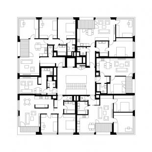 Bytový dům Bulovka  - Půdorys 3NP
