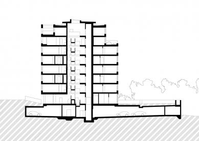 Bytový dům Bulovka  - Řez