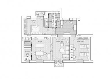 Rekonstrukce bytu v ČernýchPolích - Půdorys - foto: ateliér SENAA
