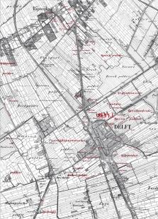 Hlavní vlakové nádraží Delft - Historická mapa - foto: Mecanoo