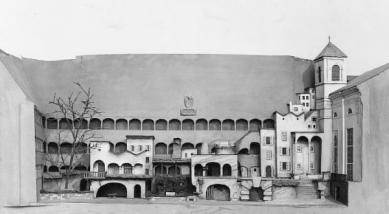 Hudební sál v bývalé jezdecké škole - Model kulis Faustova města od Clemense Holzmeistera pro Reinhardtovu incentaci Faust I z roku 1933