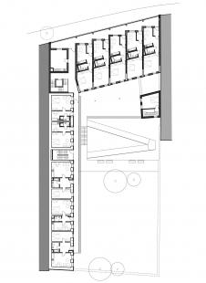 Rekonstrukce bytového domu Francouzská - Půdorys nástavby - foto: Ateliér AGP