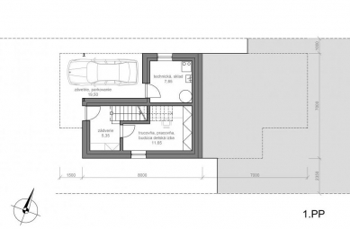 Rodinný dom Konská - Půdorys 1.pp - foto: MV architektúra