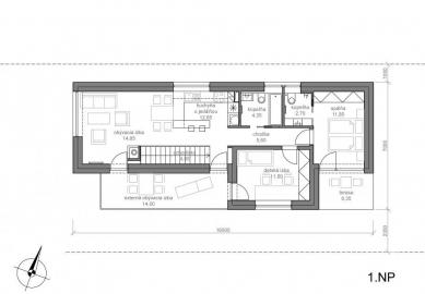 Rodinný dom Konská - Půdorys 1.np - foto: MV architektúra