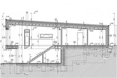 Rodinný dom Konská - Podélný řez - foto: MV architektúra