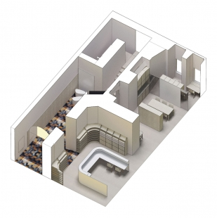 KIS - Kulturní a informační středisko - Axonometrie - foto: BLOK_architekti