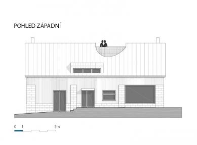 Rekonstrukce stodoly na rodinný dům - Pohled západní - foto: BLOK_architekti