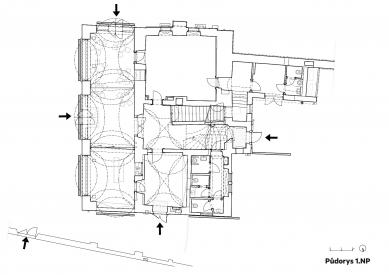 Rekonstrukce Werichovy vily - Půdorys 1.np - foto: Architektonická kancelář TaK