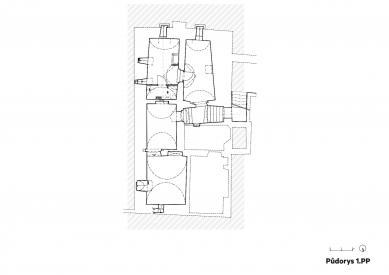 Rekonstrukce Werichovy vily - Půdorys 1.pp - foto: Architektonická kancelář TaK