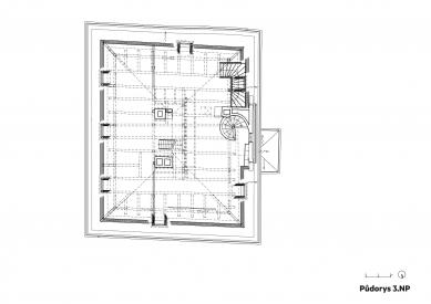 Rekonstrukce Werichovy vily - Půdorys 3.np - foto: Architektonická kancelář TaK
