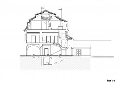 Rekonstrukce Werichovy vily - Řez - foto: Architektonická kancelář TaK