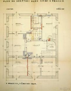 Rekonstrukce Werichovy vily - Půdorys 1. patra z roku 1929