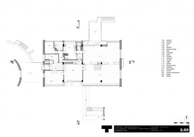 Rekonstrukce Volmanovy vily - Půdorys přízemí - foto: Architektonická kancelář TaK