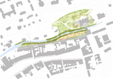 Obnova nábřeží řeky Loučné - Situace - foto: Rusina Frei architekti