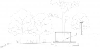 Obnova nábřeží řeky Loučné - Řez pavilonem - foto: Rusina Frei architekti