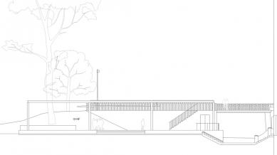 Obnova nábřeží řeky Loučné - Pohled pavilonu - foto: Rusina Frei architekti