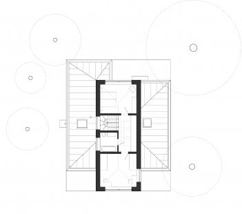 Dům ve Zličíně - Půdorys patra - foto: Rusina Frei architekti