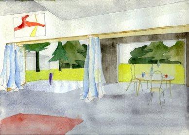 Dům ve Zličíně - Skica interiéru - foto: Rusina Frei architekti