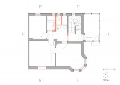 Rodinný dům v Českém Krumlově - 1NP - původní stav - foto: Pavlíček + Hulín architekti
