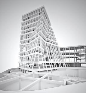 Blavatnik Building (former Switch House) - 3D schéma konstrukčního řešení