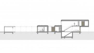 Rodinný dom Greenline - Podélný řez - foto: architekti Šercel Švec