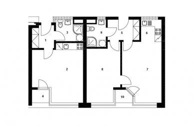 Dům s pečovatelskou službou - Detailní dispozice bytu - foto: Jiran Kouhout Architekti