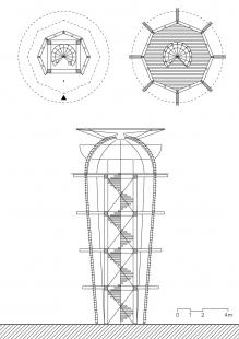 Věž Ester - Půdorysy a řez - foto: Huť architektury Martin Rajniš
