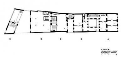 Rekonstrukce paláce Langhans - Půdorys prvního poschodí - foto: Lábus AA