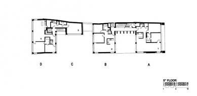 Rekonstrukce paláce Langhans - Půdorys pátého patra - foto: Lábus AA