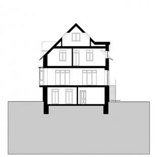 Rekonstrukce domu Na Hřebenkách - Řez