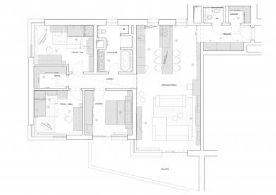 Interiér bytu U Michelského mlýna - Půdorys