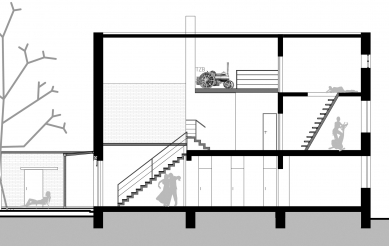 Rodinný dům v Chrudimi - Podélný řez - foto: Martin Nedvěd