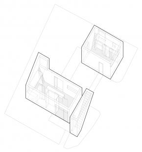 Ateliérový dům v Ratiboři - Axonometrie 1NP
