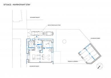 Rekonstrukce rodinného domu v Bohnicích - Situace navrhovaného stavu - foto: Archport