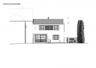 Rekonstrukce rodinného domu v Bohnicích - Jihozápadní pohled - foto: Archport