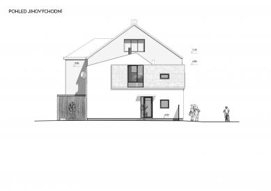 Rekonstrukce rodinného domu v Bohnicích - Jihovýchodní pohled - foto: Archport