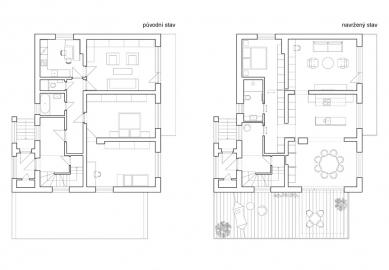 Rekonstrukce pro rodiče - Půdorysy původní stavu a realizovaného návrhu - foto: Atelier 111 architekti