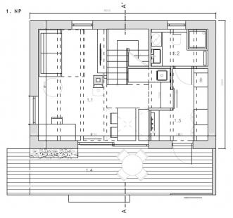 Chata pod třešní - Půdorys 1.np - foto: majo architekti