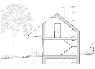 Chata pod třešní - Příčný řez - foto: majo architekti