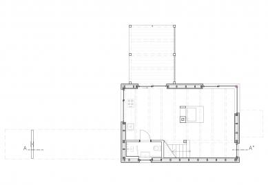 Chata s lávkou - Půdorys 1.np - foto: majo architekti