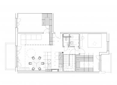 Rekonstrukce mezonetového bytu v Bratislavě - Půdorys vstupního podlaží