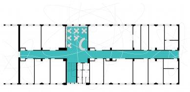 Rekonstrukce chodeb a společenské místnosti Ústavu jaderného výzkumu Řež - Půdorys