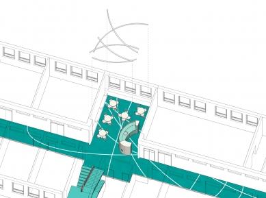 Rekonstrukce chodeb a společenské místnosti Ústavu jaderného výzkumu Řež - Axonometrie